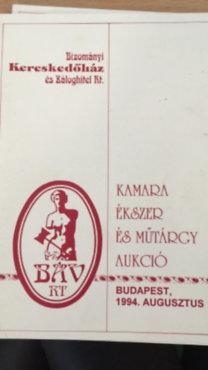 Kamara ékszer és műtárgy aukció 1994. augusztus